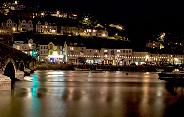 View of Looe at night
